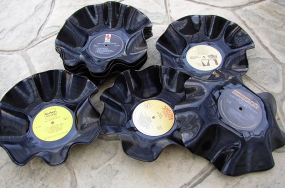 Pote de vinil artesanato na rede for Things to make with old records