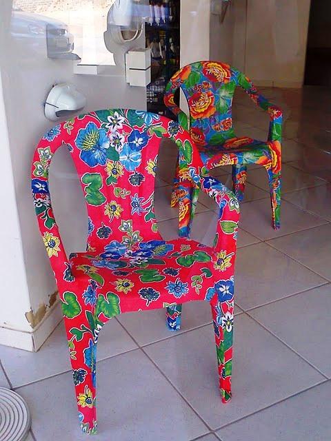 Galeria Do Artesanato São Carlos ~ Customizaç u00e3o de cadeiras plásticas com tecidos ARTESANATO NA REDE