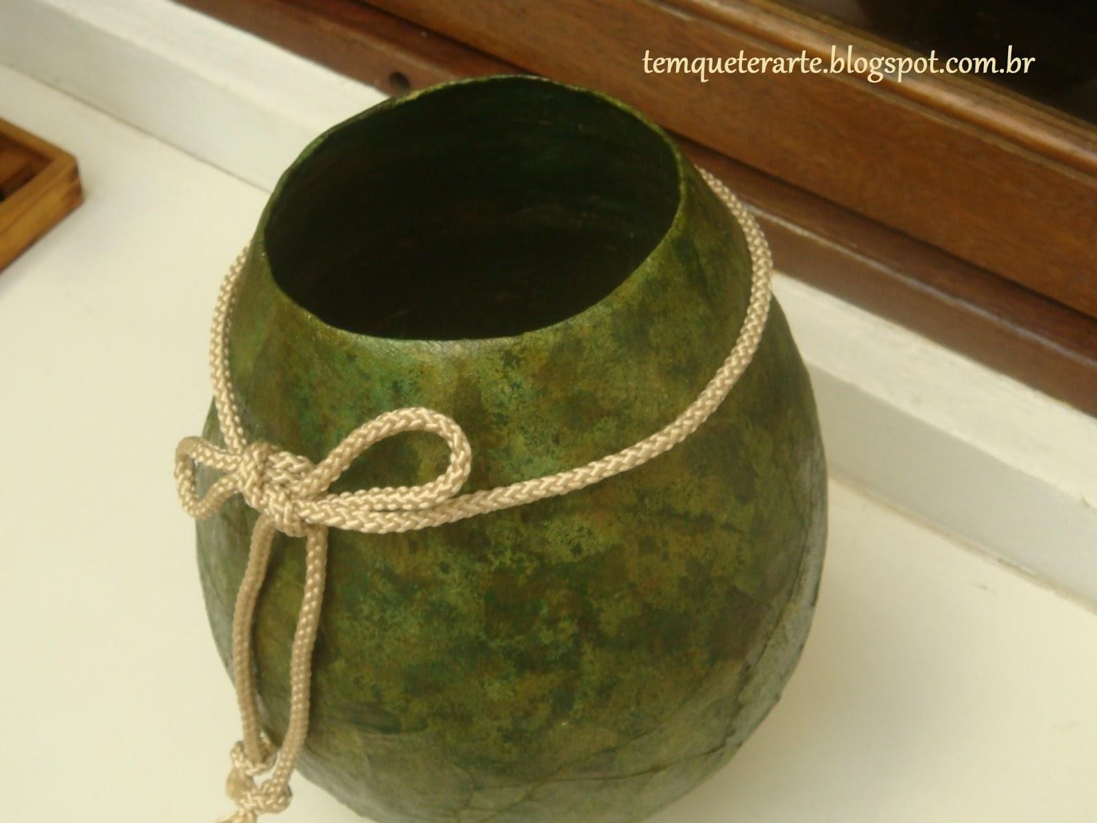 Armario Rustico Colonial ~ Vaso feito de bexiga e jornal u2013 Artesanato na