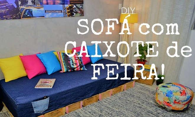 Sala renovada! Faça um sofá com caixote de feira