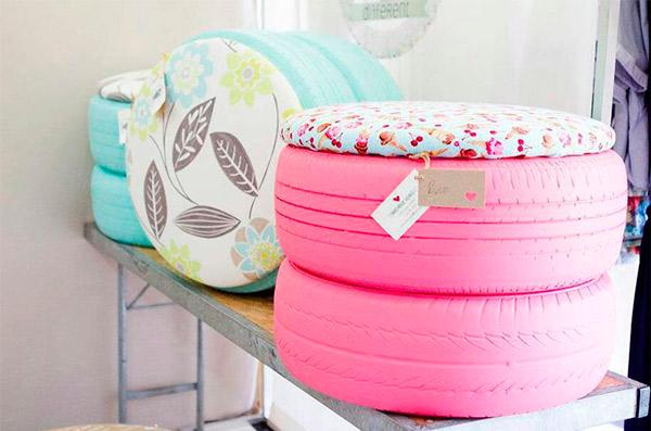Lindos pufes reciclados de pneu! Coloridos!