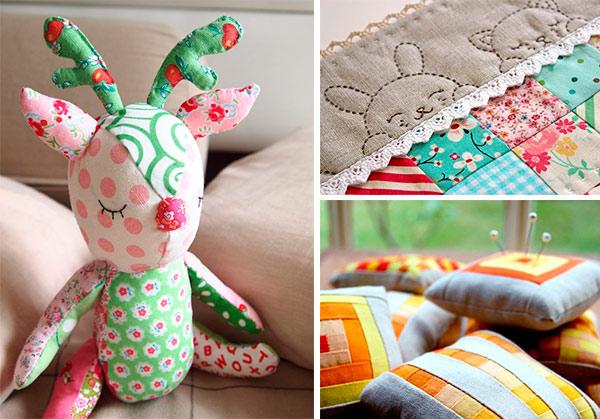 Brinquedos, costuras diferentes e porta alfinetes