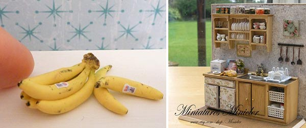 Micro bananas lindas e miniatura de cozinha!