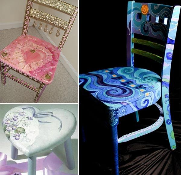 Cadeiras lindas pintadas a mão!