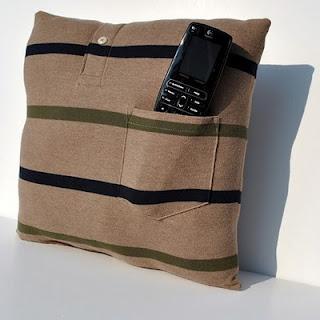 almofada feita de camisa presente dia dos pais
