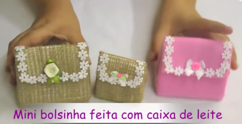 Bolsa Feita Com Caixa De Leite E Tecido : Lembrancinhas de caixa leite mini bolsa artesanato