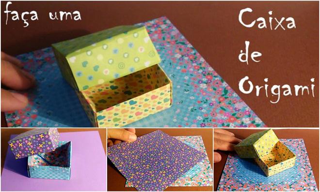 Caixa simples de origami para presentear - Passo a Passo