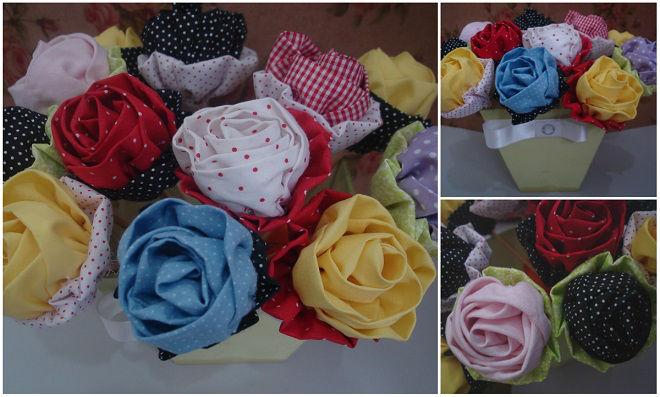Rosas de tecido - Que tal relaxar e deixar tudo bonito?