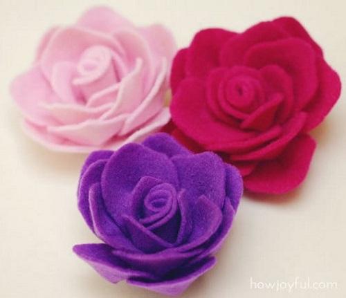 simples e linda Rosa de feltro-1