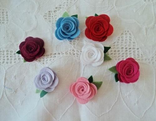 simples e linda Rosa de feltro-2