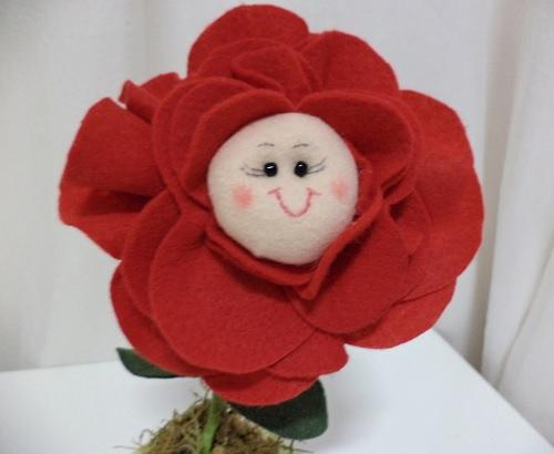 simples e linda Rosa de feltro-3