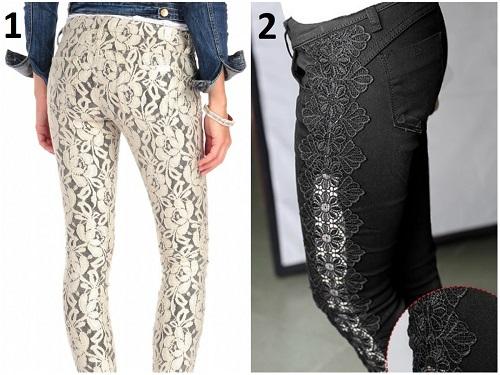 Customização com renda em calças Jeans - 1-2