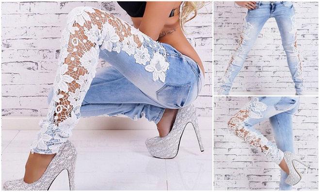 Customização com renda em calças Jeans