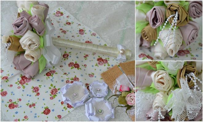 bouquet de noiva com flores de tecido - Irene