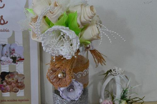 Centro de Mesa para casamento com pote de vidro-001