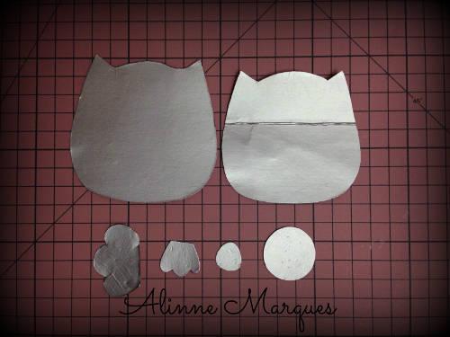 Marcador de página no formato de coruja feito de feltro-001