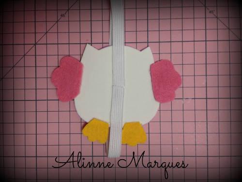 Marcador de página no formato de coruja feito de feltro-002