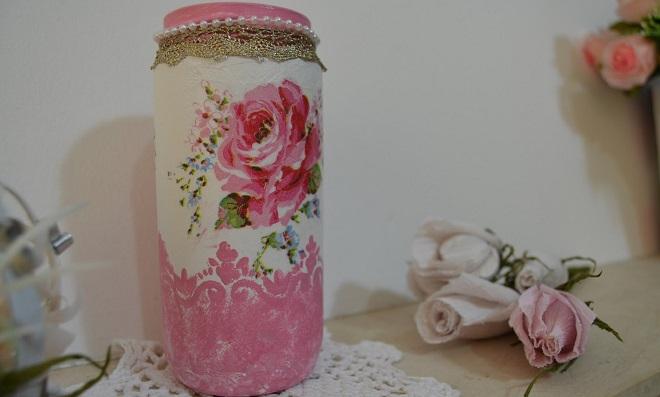 Reciclagem de frascos com decoupagem - Passo a Passo