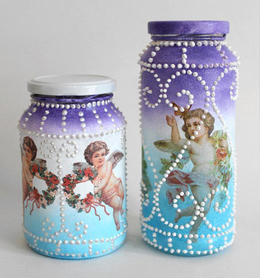 Aprenda pintura esponjada em potes de vidro-final