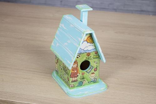 Casa de passarinho com pátina e guardanapo-01