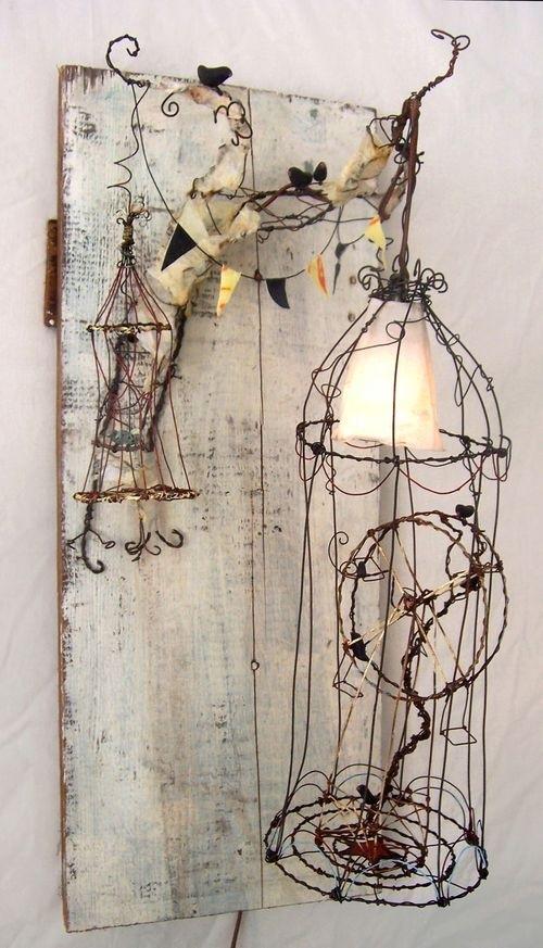 luminária com arame
