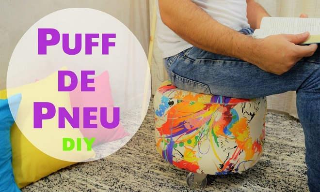Artesanato com Pneu: Criatividade e reciclagem viram um Puff!
