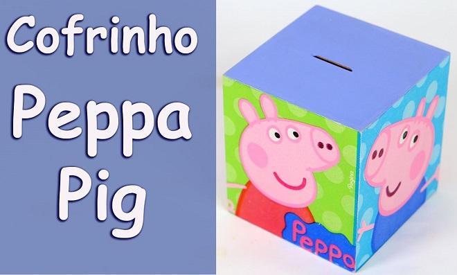 Cofrinho Peppa Pig usando decoupage com guardanapo infantil