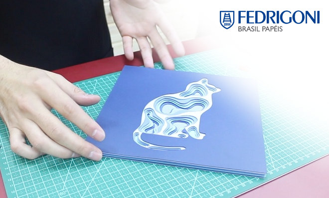 Relevo de papel formato silhueta de gato - Aprenda essa arte!