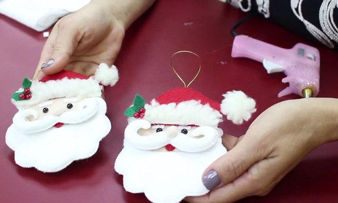 Faça e venda: Enfeite de papai noel usando feltro