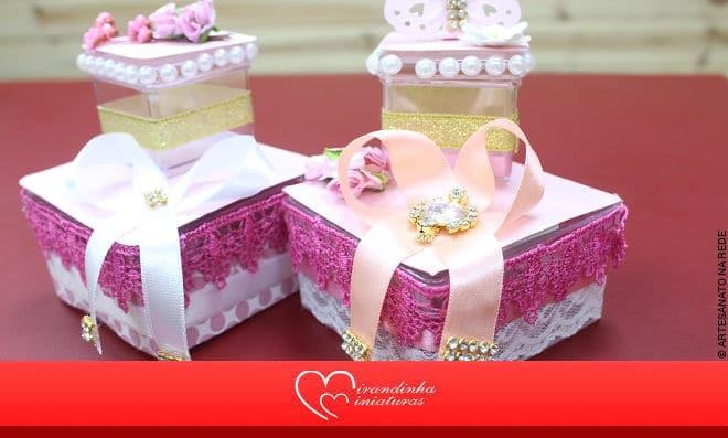 Aprenda como fazer uma caixinha de doce para festa de menina - Imagem detalhada